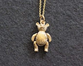 Small 9ct Gold Teddy Bear Charm Necklace, Solid 9 Karat Gold Bear Pendant with Movable Legs - Golden Teddy