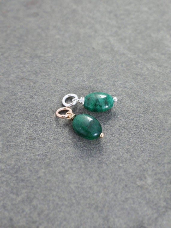 Emerald May Birthstone Pendant, Sterling Silver or 14K Gold Filled Wire Wrapped Gemstone Charm - Add a Dangle
