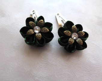 Wooded Wild Kanzashi Flower Snap Clips