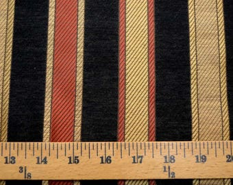 Black Red Gold Striped Upholstery Fabric
