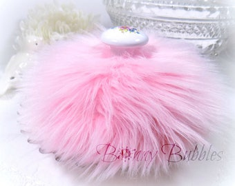 Fluffy PINK Powder Puff     faux fur     ceramic handle     floral motif     pouf rose     Gift Boxed     Handmade by Bonny Bubbles
