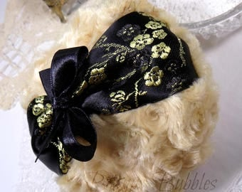 Black and Brown Sugar Powder Puff | black and gold satin floral brocade pouf | gift box option | handmade by Bonny Bubbles