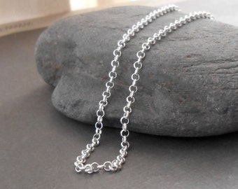 2mm Rolo Sterling Silver Necklace Chain, Finished Chain, Choose Length 16 to 28 inches