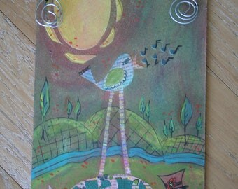 bird and turtle art -- mixed media -- an unlikely pair