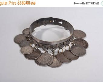 HALF PRICE SALE Antique Love Token Charm Bracelet - 1876 Seated Liberty Quarter Coin - 1858-1949 Numismatic Fashions