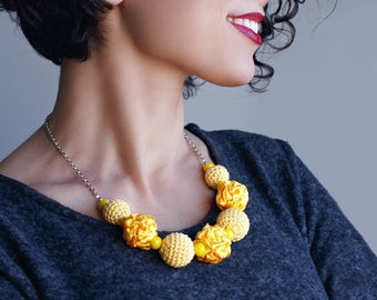 Bright yellow fabric and crochet beads necklace, textile necklace, textile jewelry, Statement Necklace, Unique Gift for Her