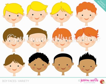Boy Faces - Create A Character Series - Cute Digital Clipart - Commercial Use OK - Mix & Match Sets to Create Your Own Character