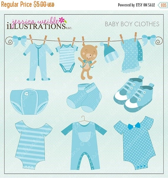 ON SALE Baby Boy Clothes Cute Digital Clipart by JWIllustrations