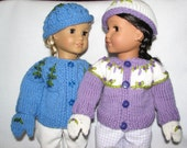 "18"" Doll Sweater Hat Mittens Fits 15 - 18 inch Doll in Purple or Blue - RTG"
