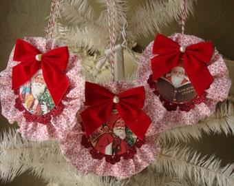 christmas ornaments victorian santa paper and fabric ornaments red and white vintage christmas home decor glitter ornaments Cottage Chic