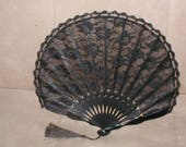 Antique Black Lace Folding Fan