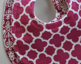 Set of 2 Baby Girl Quatrefoil and Damask Terry Cloth Snap Bibs