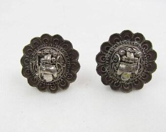 Vintage 1940s Silver Aztec Sun God Clip-on Earrings