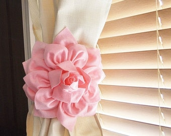 SALE Nursery Decor-TWO Dahlia Flower Curtain Tie Backs Curtain Tiebacks Curtain Holdback - Drapery Tieback -Baby Nursery Decor - Light Pink