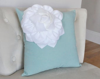 Teal Blue Pillow Cover Dusty Blue Flower Pillow Teal Throw Pillow Cover Lumbar Pillows Decorative Bed Pillows, French Country Blue Pillow