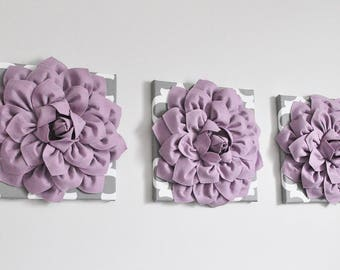 Moroccan wall hangings - Set of 3 - Moroccan wall art - Moroccan wall hanging - handmade tile - Lilac Dahlia Flowers