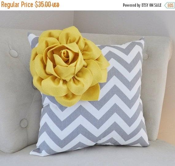 SALE Mellow Yellow Corner Dahlia on Gray and White Zigzag Pillow 14 X 14 -Chevron Flower Pillow- Zig Zag Pillows