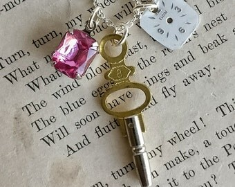 vintage repurposed necklace | vintage pink rhinestone, vintage watch dial, repurposed pocket watch key