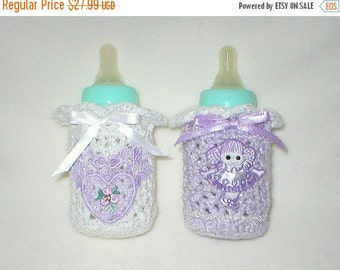 40% OFF RETIRING SALE Crochet Baby 0-3 Mts 4 Oz.Two Bottle Covers Lavender Little Girl Hand Dyed Lavender Venise Lace Heart Gift Set
