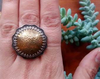 Austria Austrian Schilling Edelweiss Flower Bezel-Set on Hong Kong Two Dollar Coin Ring with Sterling Silver Band. Size 7. Ready to Ship.
