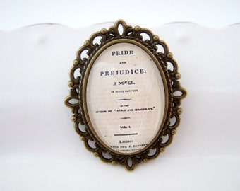 Literary Gift, Jane Austen Brooch, Jane Austen Gift, Literary Jewellery, Pride & Prejudice, Book Jewellery, Reader Gift, Book Lover Gift