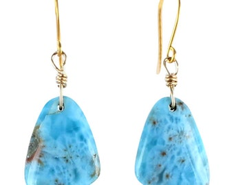 LARIMAR EARRINGS 24k Vermeil New World Gems