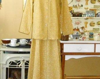 Women's Suits 70's Suit Gold Evening Skirt Long Skirt Suit Women's 3 Piece Suit Women's Vintage Clothing