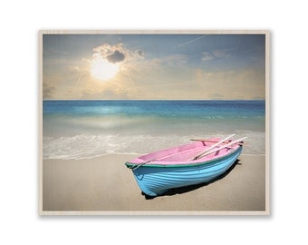 Boat on Beach- Art on Wood, Custom Photo on Wood, Personalized Art on Wood, Image on Plywood, Custom Photo Prints w021