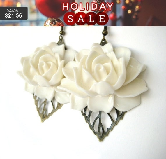 CUSTOM COLOR Extra Large Earrings - Shabby Chic Jewelry - White Flower Earrings - White Bridal Jewelry Brown Leaf