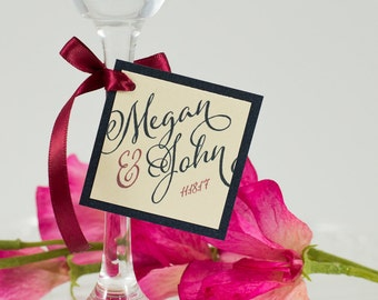 Medium, Square, Double-Layered Favor Tag with Ribbon