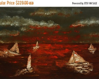 17% OFF /ONE WEEK Only/ Sailing abstract knife by Paul Juszkieiwcz black red orange gray
