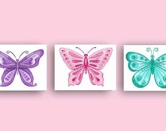 butterfly art prints, girl nursery art, butterfly decor, watercolor butterfly prints, lavender bedroom art,