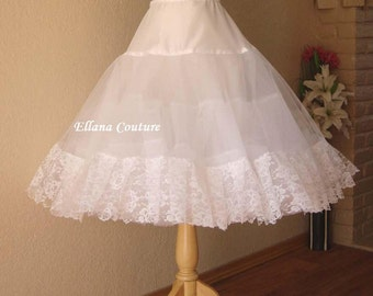 Tea Length Crinoline with Lace Trim. EXTRA Fullness Petticoat. Available in White, Ivory, or Black..