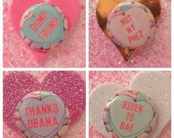 Obama, Biden, Dump Trump, Not my Prez pin back set