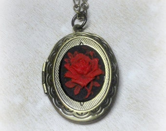 Victorian Cameo Locket - Victorian Jewelry - Cameo Necklace - Victorian Necklace - Locket Necklace - Flower Cameo Locket - Red Rose