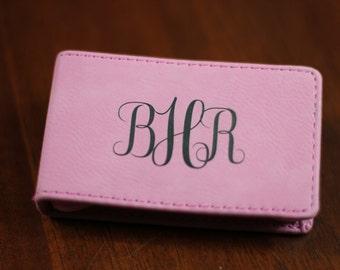 Pink Leather Manicure Set, Manicure Set, Personalized Manicure Set