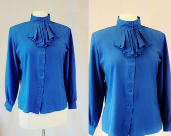 1990's Lapis Royal Blue Ascot Blouse Size 8 Petite Vintage REtro 90's Silky Poly Office Business Hipster