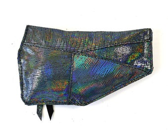 Iridescent Black Leather Zip Pouch Purse Wallet Handmade