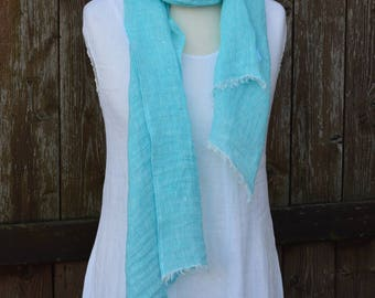 Scarf linen, turquoise scarf, scarf for women, scarf for men