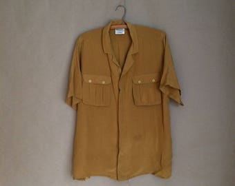 vintage 80's box cut / oversized baggy fit shirt / blouse / patch pockets / silk / spring / minimalistic