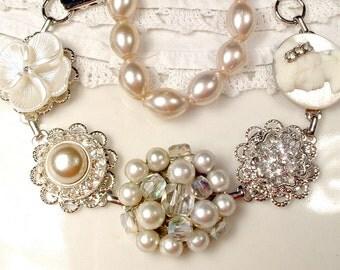 OOAK Antique Blush Champagne & Ivory Pearl Bridal Bracelet, Rhinestone Cameo Silver Vintage Earring Bridesmaid Victorian Wedding Romantic