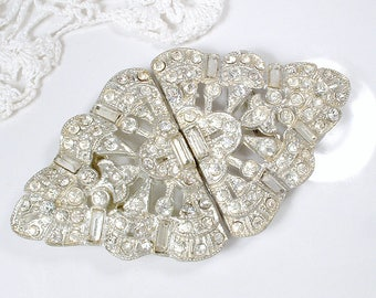 ANTIQUE 1930s Sash Buckle OR Bridal Hair Comb, Large Art Deco Rhinestone Vintage Wedding Dress Belt/Great Gatsby Hair Accessory Hairpiece