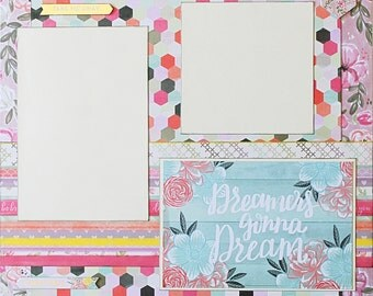 Dreamers - Basic Premade Scrapbook Page 12x12 Layout for Album