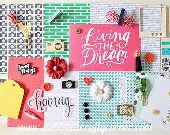 Living the Dream -  Inspirational - Cardmaking - Planner Kit - Journal Kit - Scrapbook Page Embellishment Kit - Journaling Cards