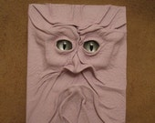 Grichels leather mini notebook - white with custom pewter slit pupil eyes