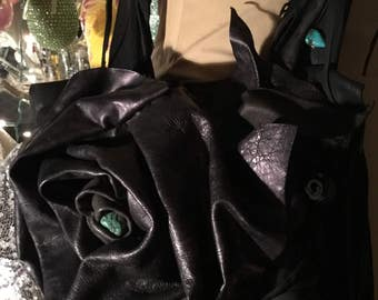 showdiva designs Asymmetrical Black Deerskin Leather Bag Purse LoNg FriNgE Turquoise Vine