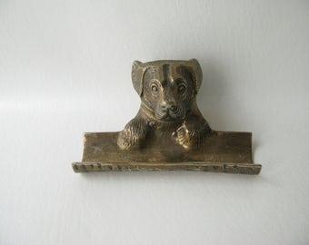 Vintage Brass Match Holder, pen holder, long matches, fireplace accessories, dog brass, pen holder
