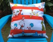 """Child's Pillow - Dr. Seuss Celebrations Tossed Characters Cotton, With Blue Minky On The Back 14"""" X 14"""""""