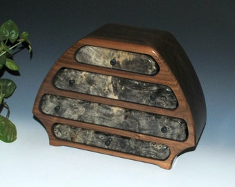 "Handmade Wood Jewelry Box ""Bernie"" Style in Buckeye Burl on Walnut - Wooden Box by BurlWoodBox - Large Wood Jewelry Box, Wooden Jewelry Box"