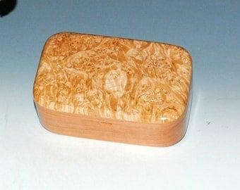 Maple Burl on Cherry Handmade Wooden Trinket Box - Wood Box,Treasure Box,Small Jewelry Box, Keepsake Box,Stash Box- Small Wooden Box - Boxes